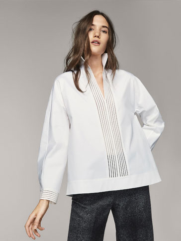 POPLIN SHIRT WITH LACE TRIMS