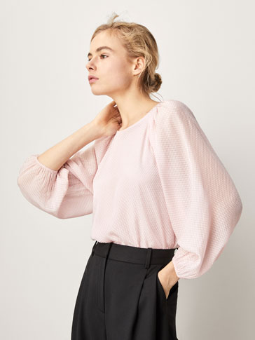 PLUMETIS BLOUSE WITH PUFFY SLEEVE DETAIL