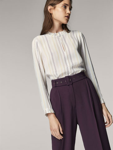 STRIPED SHIRT WITH EMBELLISHED DETAIL