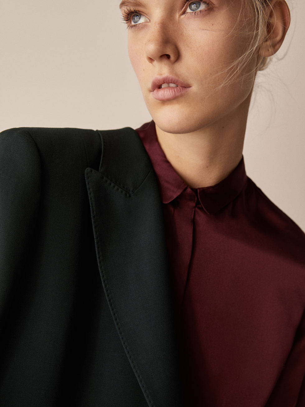 Silk Blouse With Wavy Details by Massimo Dutti