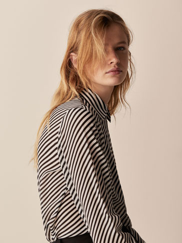 SILK SHIRT WITH DIAGONAL STRIPES