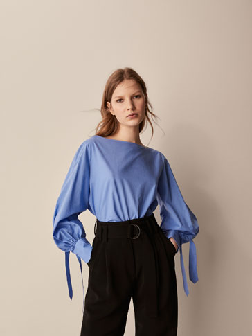 COTTON BLOUSE WITH TIED SLEEVES