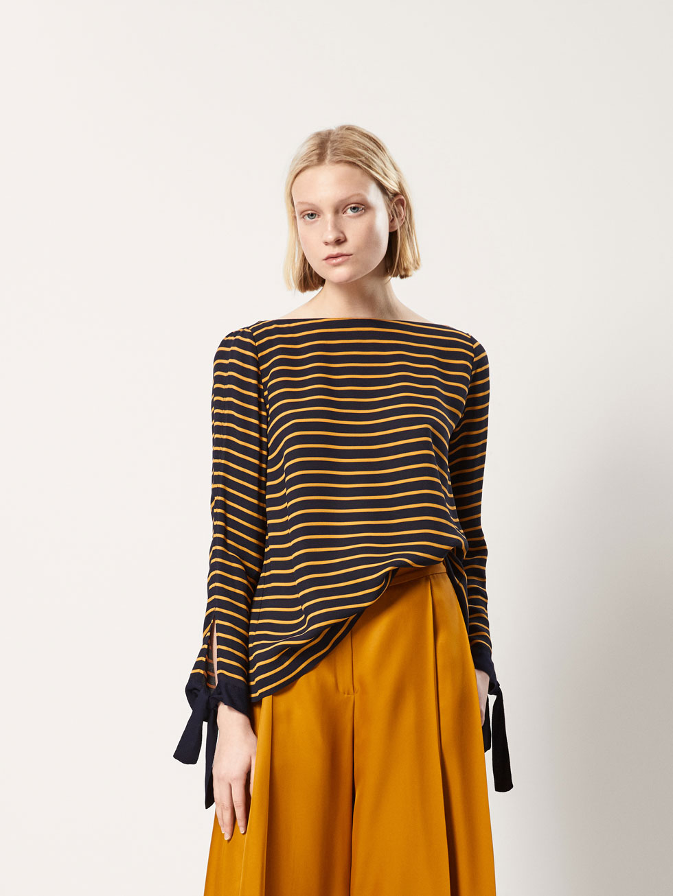 Striped Top With Open Back by Massimo Dutti