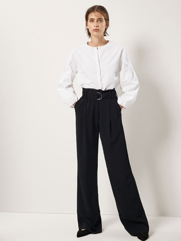 POPLIN BLOUSE WITH PUFF SLEEVES