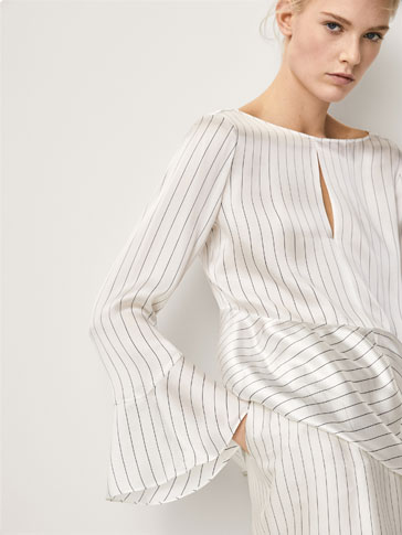 PINSTRIPED SILK BLOUSE WITH BELL SLEEVES