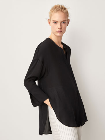 PLAIN SILK OVERSIZED BLOUSE