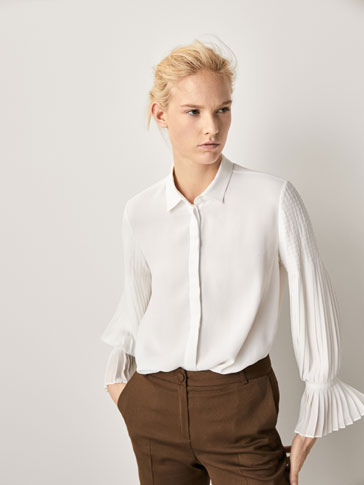 CHECK-TEXTURE WEAVE SHIRT WITH PLEATED DETAIL