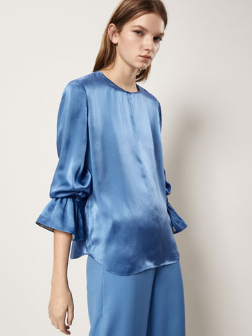 SILK BLOUSE WITH RUFFLE DETAIL