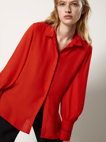 OVERSIZED BLOUSE WITH TOPSTITCHING DETAIL