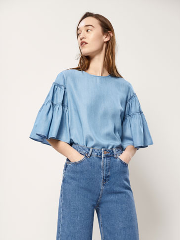 LYOCELL AND DENIM BLOUSE WITH RUFFLES