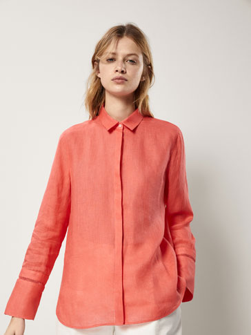 LINEN SHIRT WITH DIE-CUT DETAIL