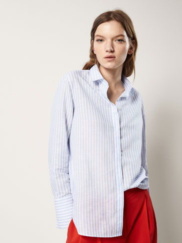 STRIPED COTTON/LINEN SHIRT