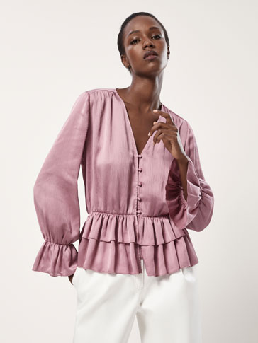 CREPE BLOUSE WITH RUFFLE TRIMS