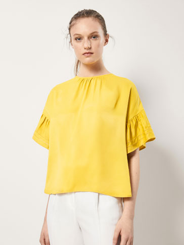 TOP WITH LACE TRIM AND RUFFLED SLEEVES
