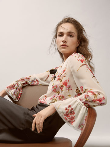 GEORGETTE SHIRT WITH FLORAL PRINT AND RUFFLE DETAIL