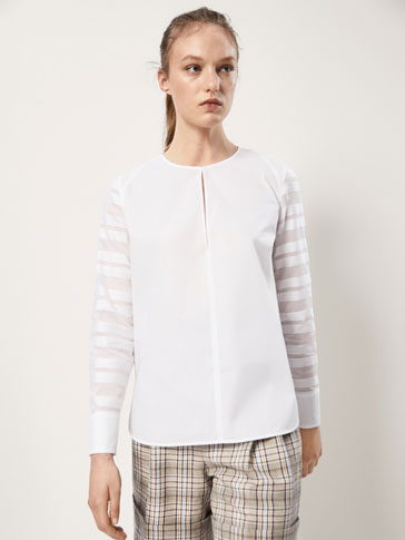 COTTON BLOUSE WITH ORGANZA STRIPES