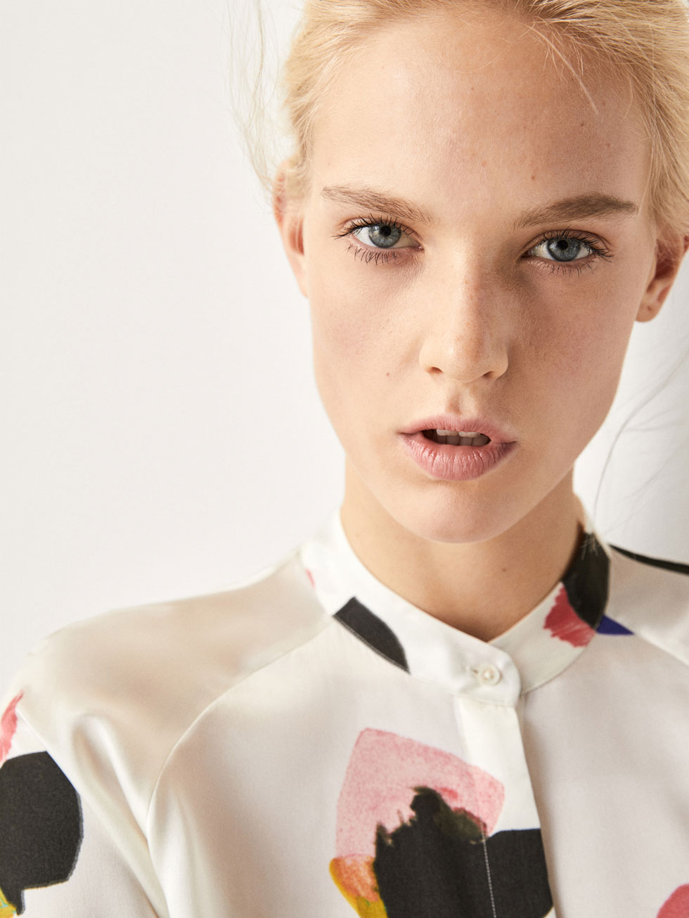 Floral Print Silk Shirt With Bow Detail by Massimo Dutti