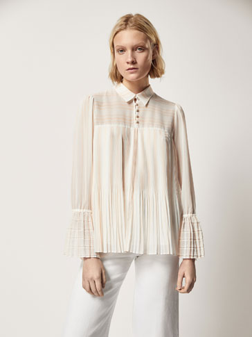 STRIPED SHIRT WITH PLEATED DETAIL