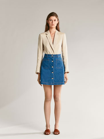 Denim Skirt With Button Details by Massimo Dutti