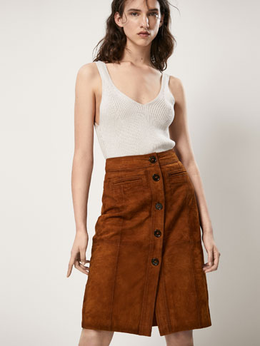 SUEDE SKIRT WITH POCKET DETAILS