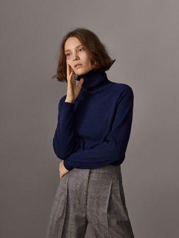 POLO NECK SWEATER WITH SLEEVE DETAIL
