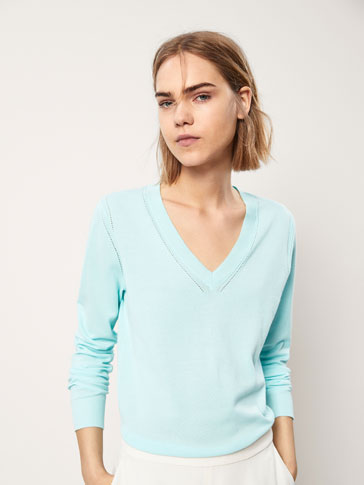 PLAIN COTTON SWEATER WITH SLITS