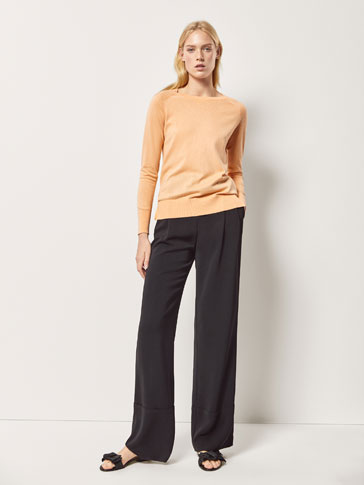 SILK/COTTON SWEATER WITH SHOULDER DETAILS