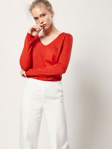PLAIN SILK/COTTON SWEATER
