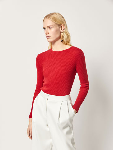 RIBBED SILK/COTTON SWEATER