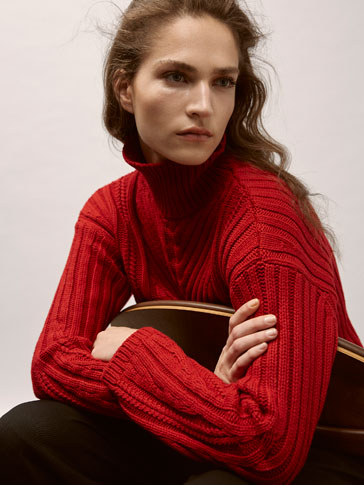 WOOL SWEATER WITH CABLE-KNIT DETAIL