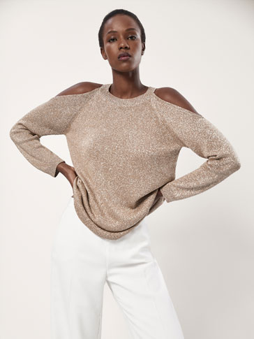 SHIMMER SWEATER WITH SHOULDER DETAIL