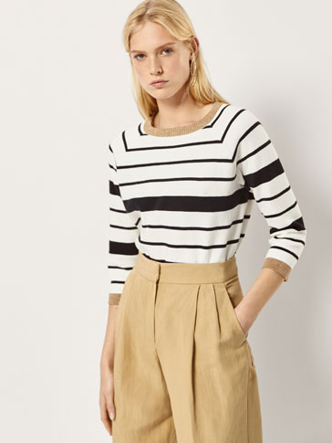 STRIPED CAPE-STYLE SWEATER