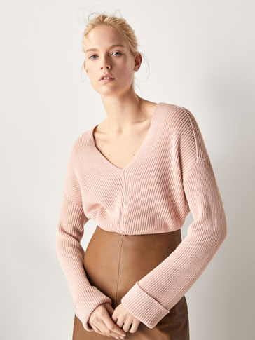 TEXTURED WEAVE COTTON SWEATER WITH TURN-UP CUFFS