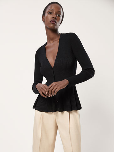 PEPLUM RIBBED CARDIGAN
