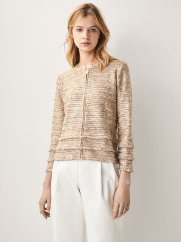 EMBELLISHED CARDIGAN WITH FRAYED DETAIL