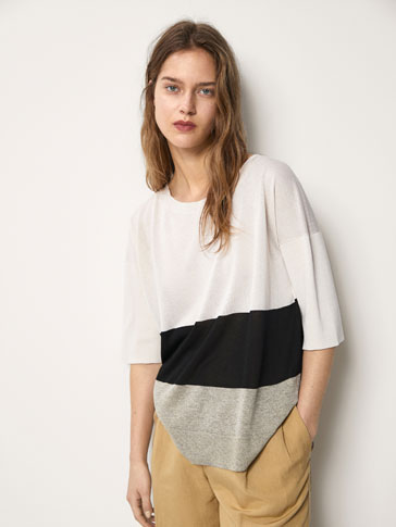 THREE-TONE STRIPED CAPE-STYLE SWEATER