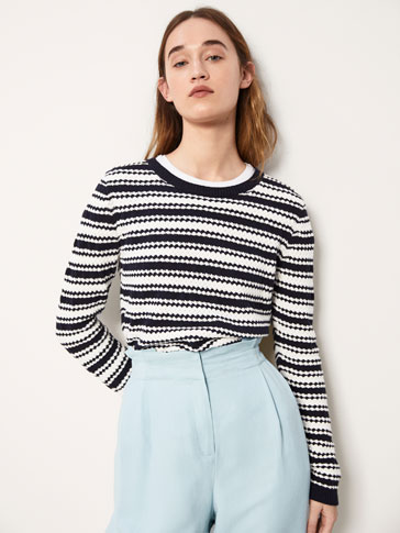 STRIPED COTTON SWEATER WITH ROUNDED HEM