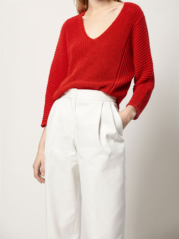 CAPE-STYLE COTTON SWEATER