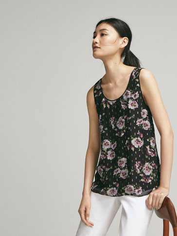 FIL COUPÉ SILK TOP WITH FLORAL PRINT