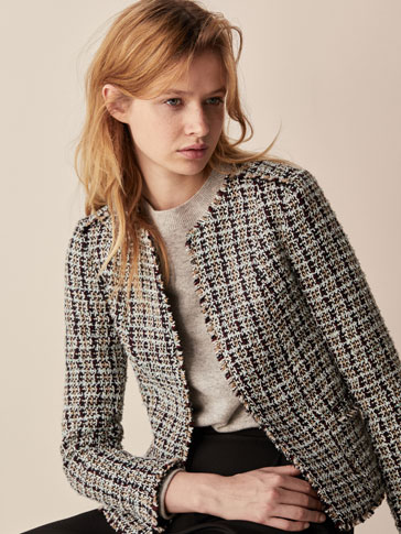 EMBELLISHED JACKET WITH FRAYED DETAIL