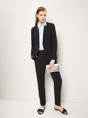 SLIM FIT BLACK WOOL BLAZER