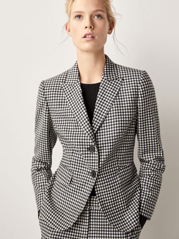 SLIM FIT GINGHAM SUIT BLAZER