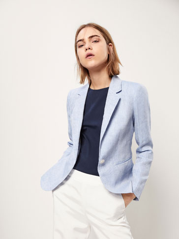 SLIM FIT TEXTURED WEAVE LINEN BLAZER