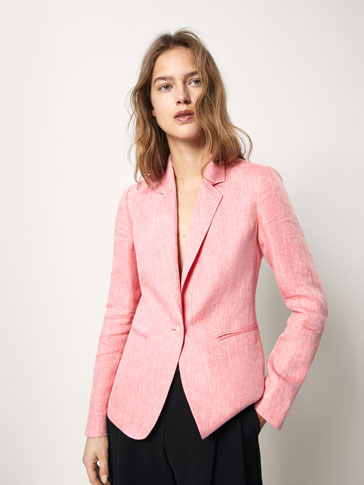SLIM FIT PLAIN LINEN BLAZER