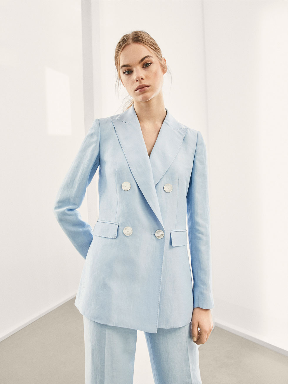 Double Breasted Linen Suit