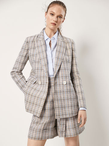 SLIM FIT CHECKED LINEN/COTTON BLAZER