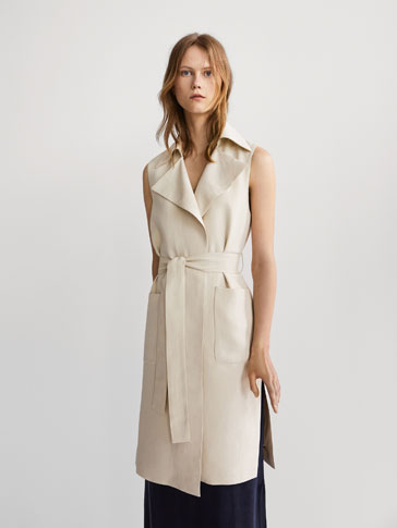 FLOWING LINEN WAISTCOAT WITH TIE-UP DETAIL