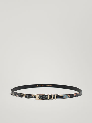 FLORAL PRINT LEATHER MOCK CROC FINISH BELT