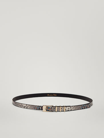 LEATHER MULTICOLOURED SNAKESKIN-EFFECT BELT WITH METAL DETAIL