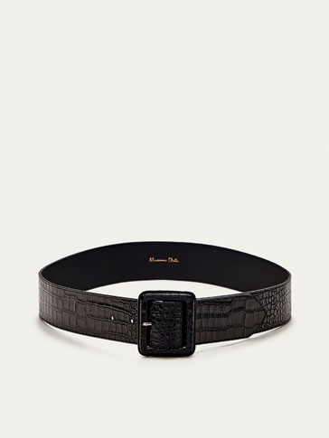 LEATHER MOCK-CROC FINISH BELT WITH BUCKLE DETAIL